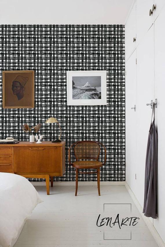 Plaid Wallpaper Plaid Pattern Removable Wallpaper Black Etsy In 2020 Plaid Wallpaper Black And White Wallpaper Removable Wallpaper