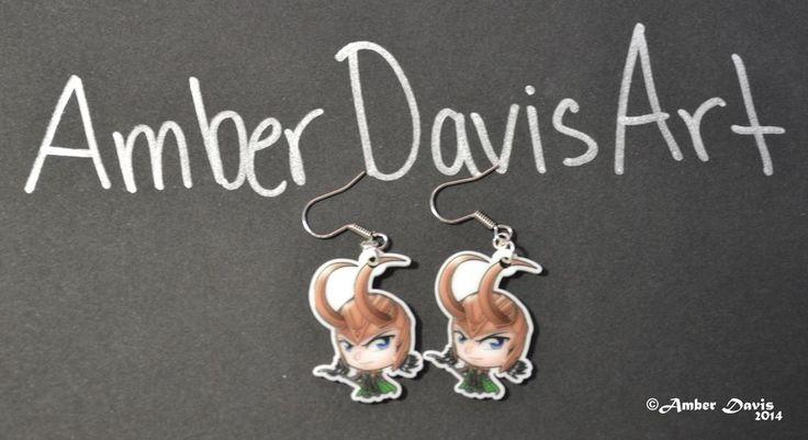 ORIGINAL Amber Davis Art Marvel Loki Chibi Earrings SO CUTE! UNIQUE!