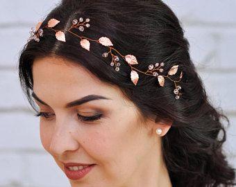 Accessoires de cheveux de mariage en or de rose mariage coiffe mariage en or Rose cheveux pièce Rose or tiare mariage bandeau cristal mariée bandeau