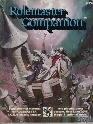 Product Line: Rolemaster  Product Edition: RM2  Product Name: Rolemaster Companion I  Product Type: Supplement  Author: M. Colborn, ICE  Stock #: 1500  ISBN: 0-915795-12-4  Publisher: ICE  Cover Price: $12.00  Page Count: 96  Format: Softcover  Release Date: 1986  Language: English