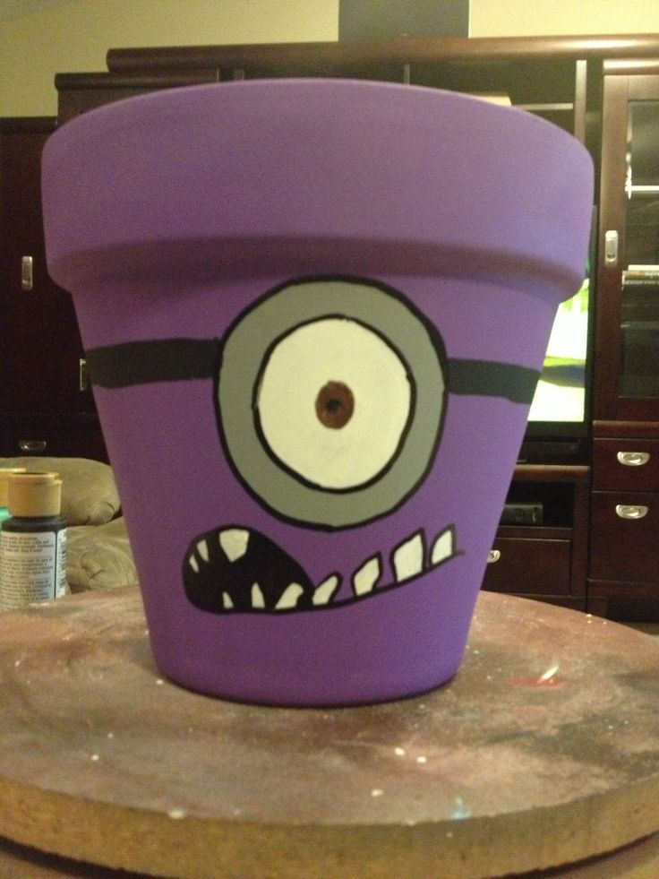 Purple minion flower pot