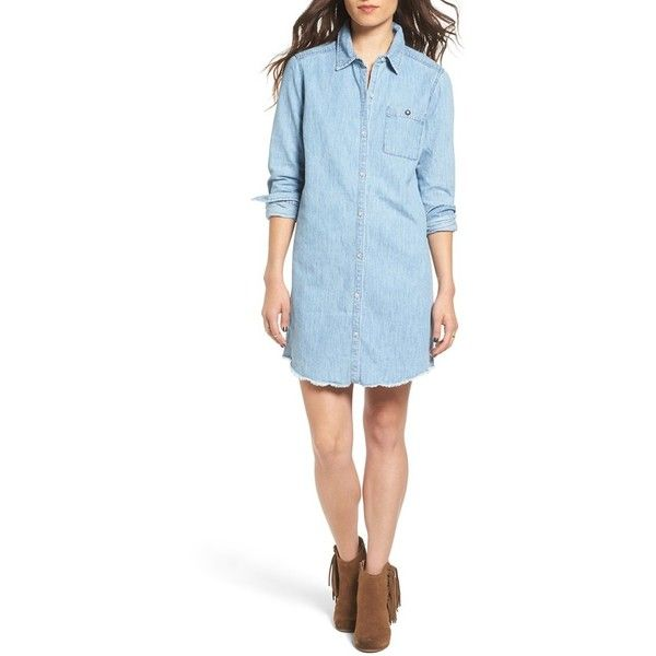 Women's Roxy 'Cat Island' Chambray Boyfriend Shirtdress ($70) ❤ liked on Polyvore featuring dresses, light blue, boyfriend shirt dress, roxy dresses, t-shirt dresses, chambray shirt dress and light blue dress