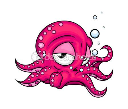 Tired Cartoon Octopus — Векторная картинка #77097981