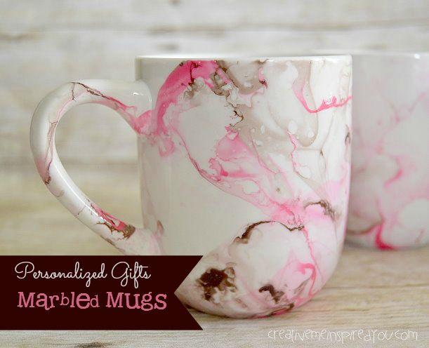 Marbled Mugs - CreativeMeInspiredYou.com crafts, mugs, coffee mugs, coffee, marbling, marbled, pink, silver, brown, white, Christmas gifts, gifts, nail polish marbling