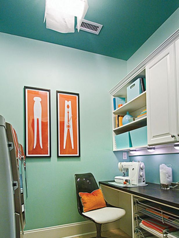 Laundry - Candice Olsen...I love these prints on the wall!  Wish my laundry room was big enough.