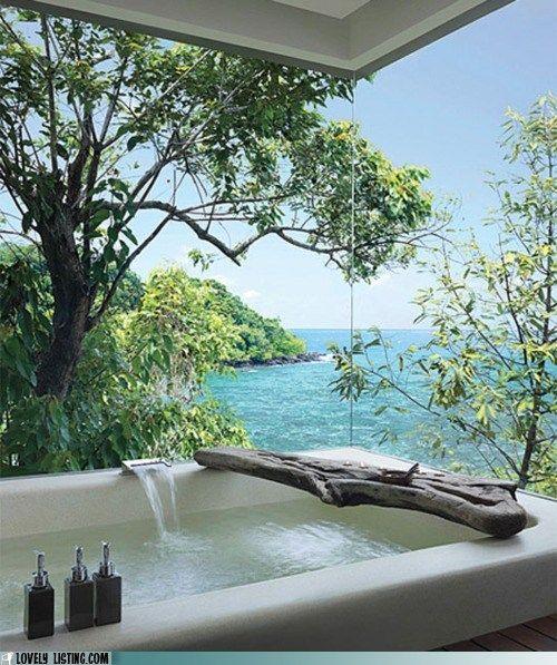 bathtub with a view of paradise: Bath Tubs, Bathtubs, The View, Dreams Bathroom, Outdoor Bath, Private Islands, Places, House, Heavens