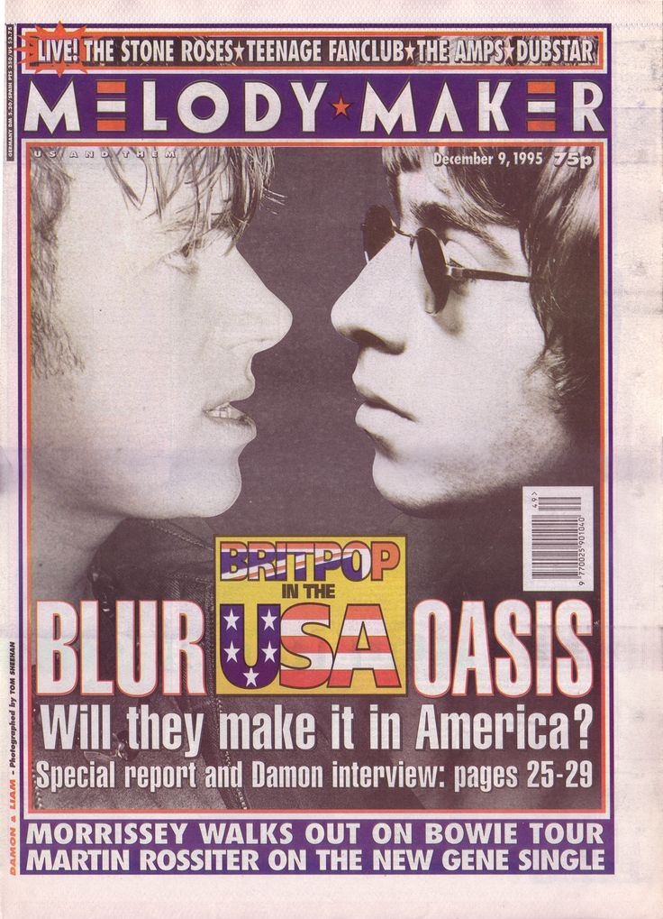 Blur vs. Oasis on the cover of Melody Maker, 9th December 1995