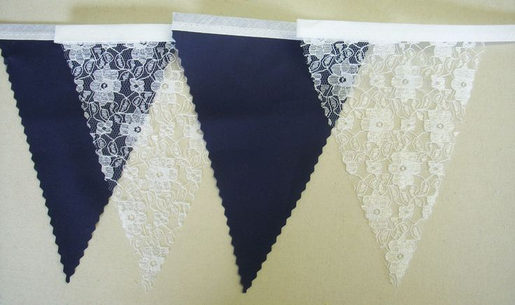 Quality Fabric Bunting -NAVY BLUE & WHITE LACE, Wedding, Street Party Decoration