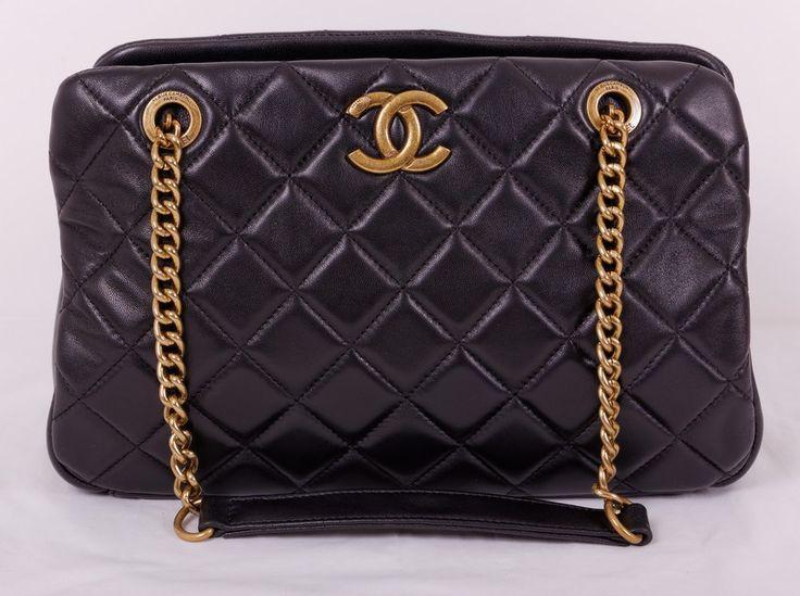 Кожаная сумка Chanel черная с двумя ручками из цепочек