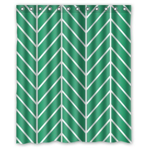 AK     Emerald Green Herringbone Chevron,Bathroom Mildew Proof Polyester  Fabric 60 · Chevron BathroomEmerald GreenHerringboneShower CurtainsEmeralds