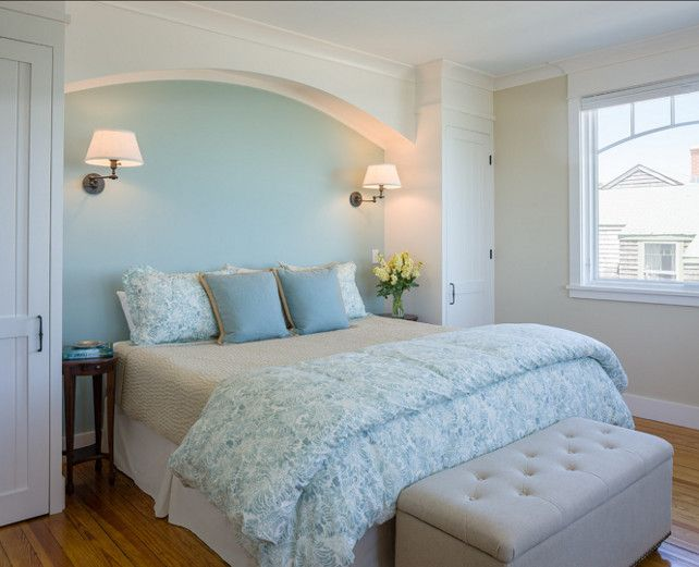 Bedroom Paint Color Ideas. The Paint Color in this Bedroom is Benjamin Moore Palladian Blue HC-144 in eggshell. #PaintColor #Bedroom #BenjaminMoore
