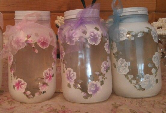 Hand painted mason jars