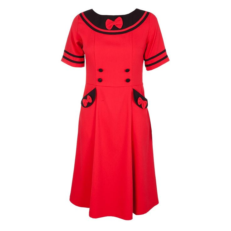 Feel red hot in this a-line dress with oversized black pockets and collar. The contrasting black detail will stand out and make you center of attention. The bow detailing, front and back is a cute vintage feature and a necessary accessory to the garment. Pair with some heels and retro hairstyle.  Turn Inside Out, Do Not Dry Clean, Machine Wash 30c Cold, Line Dry, Cool Iron, Do Not Iron Decoration