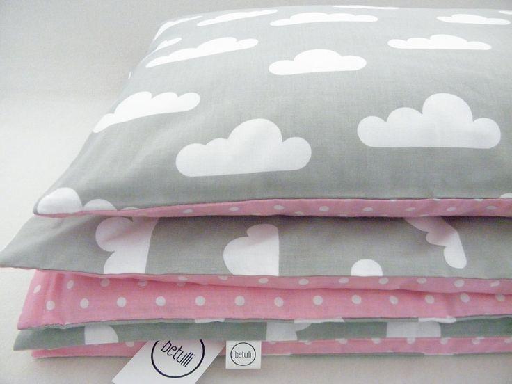 Bettwäsche - Bettwasche 100x135cm, Wolke, Punkte, rosa-grau - ein Designerstück von Betulli bei DaWanda
