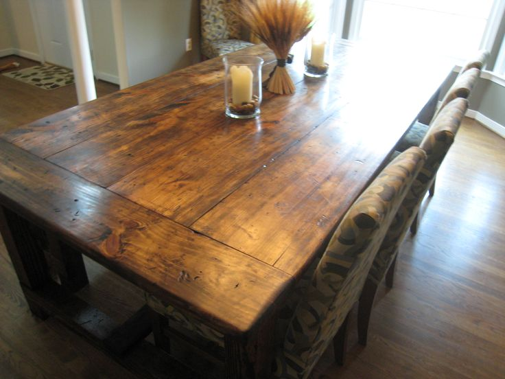 Rustic Dining Room Tables, Farmhouse Kitchen Tables, Rustic Table, Dining  Room Design, Kitchen Table With Bench, Farmhouse Table Plans, Antique  Dining Rooms ...