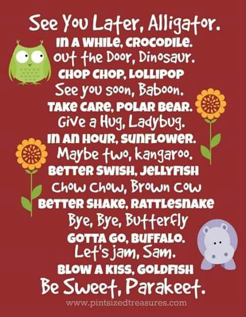 ways to say goodbye to the kids