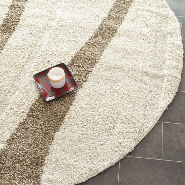 Safavieh Willow Contemporary Cream/ Brown Shag Rug (6'7 Round) (SG451-1128-7R), Beige Off-White (Olefin, Abstract)