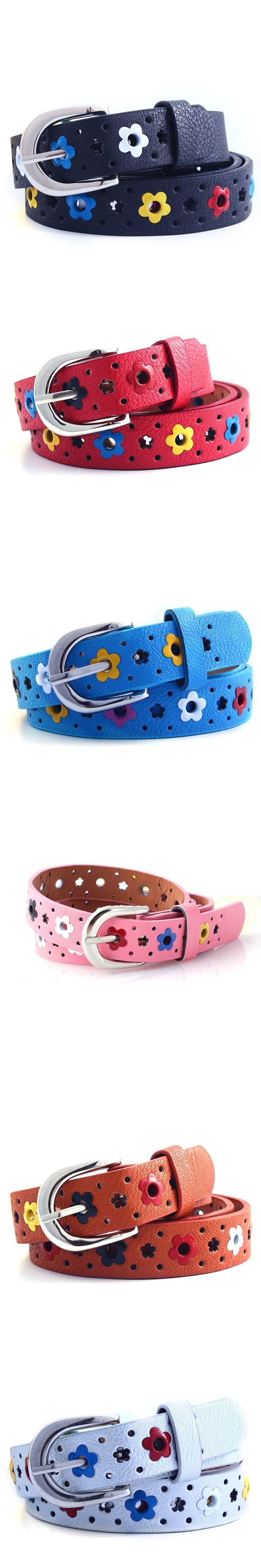 New Kids Children Boys Girls Hollow Flower Waistband Faux Leather Belt Buckle Apparel Accessories