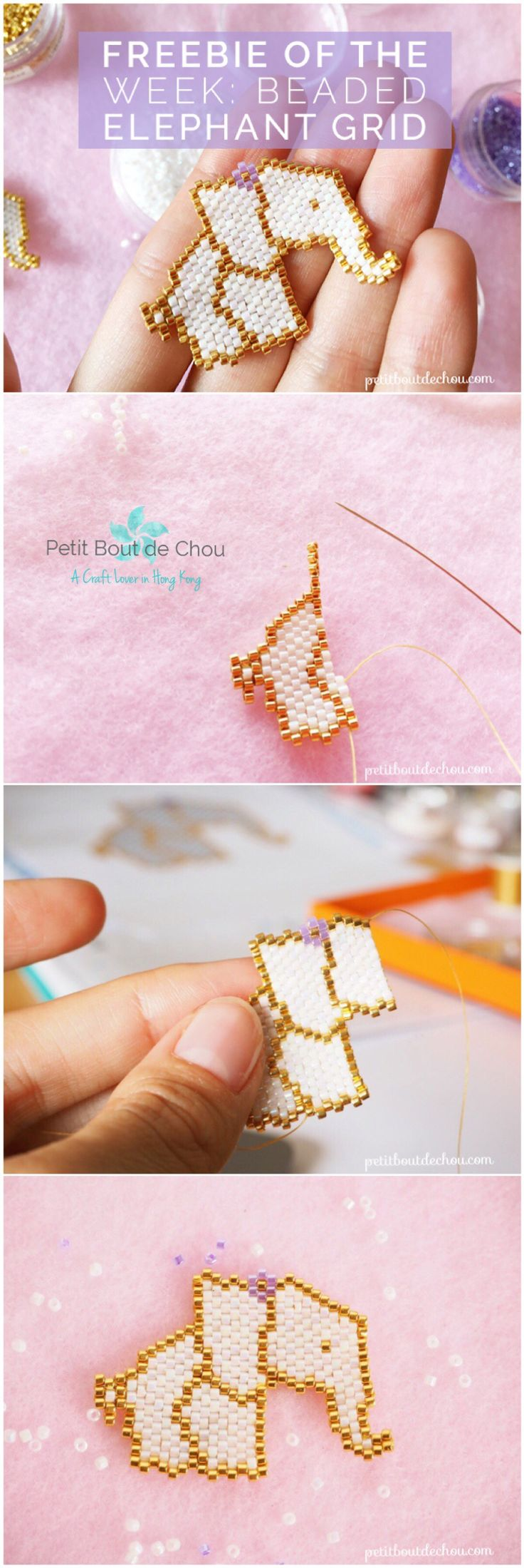 Create a beaded elephant in brick stitch using miyuki delica beads. Free grid available.
