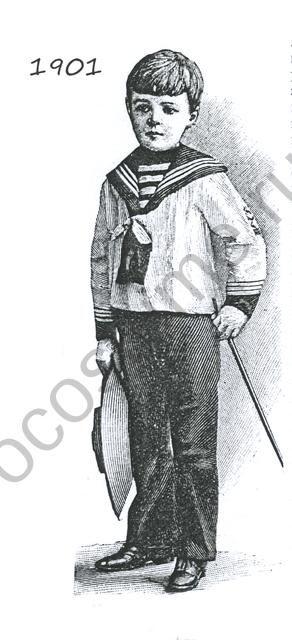 Костюм мальчика в морском стиле. Матроска и темные брюки. 1901 год