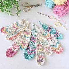 Crochet feather pattern