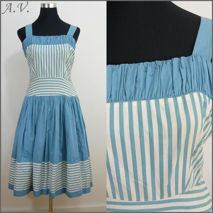 NAUTICAL VINTAGE 1950s DUCK EGG BLUE STRIPE SWING PROM DRESS 12 40 ROCKABILLY