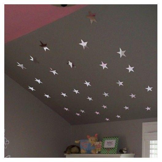 Nalepovacie zrkadlá na stenu v tvare hviezd