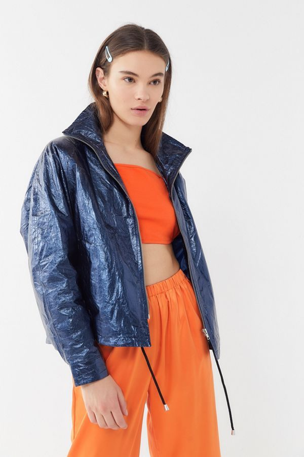 UO Jesse Metallic Vinyl Anorak Jacket | aesthetic in 2019
