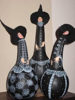 Witches Choir made of gourds - I have a set of these designed and painted by Golda Rader.