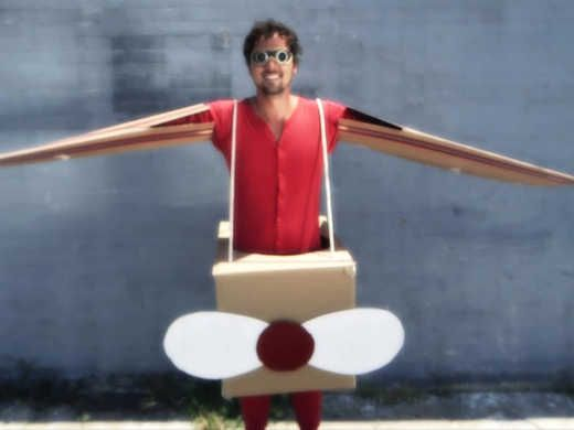 Halloween costume: Dan makes a creative airplane costume with a cardboard box and imagination. Watch on uLive