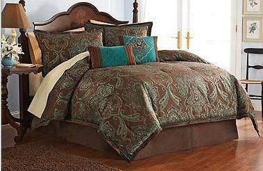 Teal and brown bedding | Queen Teal Blue Brown Modern Jacquard Luxury Comforter Bedding Set New ...