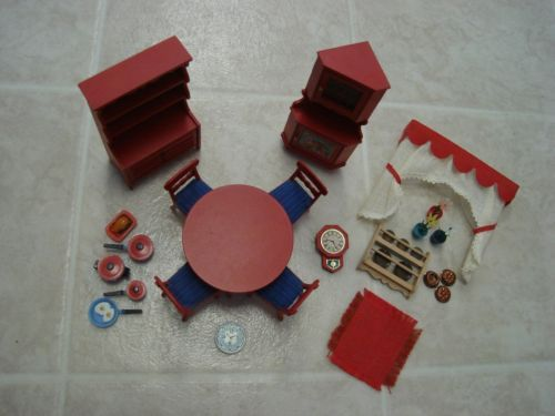 Vintage 1970u0027s LUNDBY Dollhouse Furniture #9305 Red Rustic DINING ROOM +  Extras