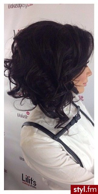 Long casual, curly, and assymetrical bob