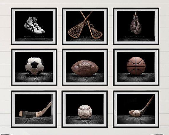 NEW The Sports Collection Black on Black Set of Nine photo prints, Nursery Decor, Classic Black, Vintage Sports Decor, Sports Room,