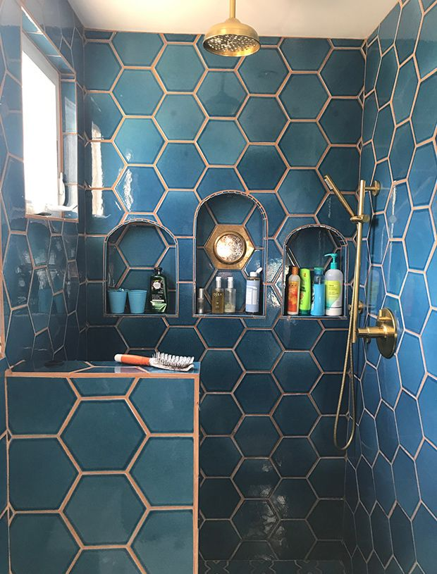 Bathroom shower blue tiles