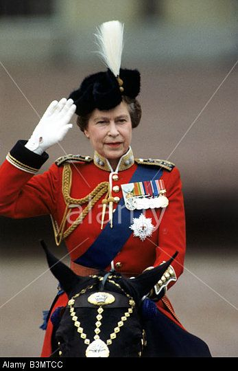 Queen Elizabeth Ii At The Trooping Of The Colours In June 1984 ...