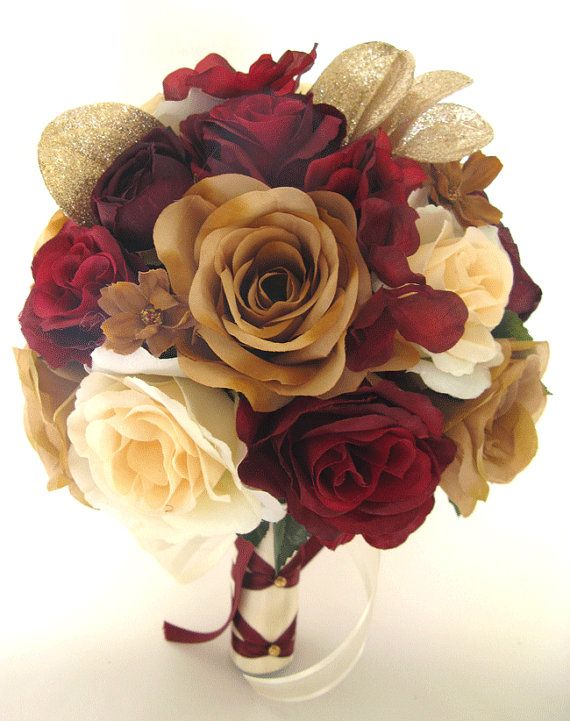 "17 Piece Package Wedding Bouquets Bridal Bouquet Wedding Silk flower BURGUNDY Wine GOLD CHAMPAGNE Wedding Centerpiece ""RosesandDreams"""