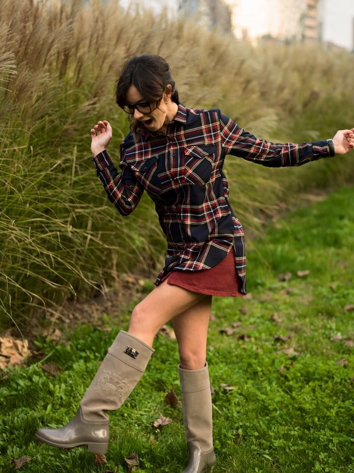 Melita Toniolo wears Chiara Bellini boots with a suede effect high leg and embossing