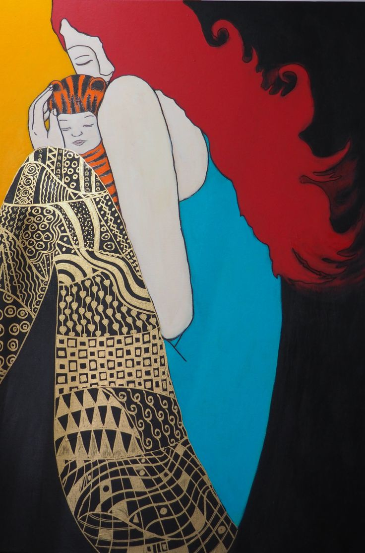 Gaye Tait, 2015. Safe In My Tiger Suit. Acrylic on canvas. 70 x 100 cm. Love the colours and the details on the clothing.