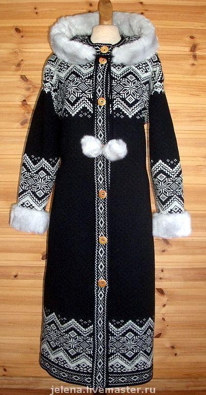 Купить Пальто вязаное с капюшоном,отделка искусственным мехом - пальто вязаное, пальто с капюшоном