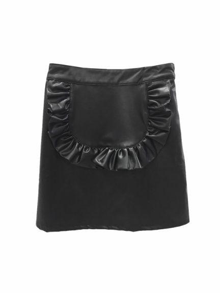 Honey Cinnamon(ハニー シナモン)のエプロンレザー台形スカート。渋谷109の人気ブランド/ショップの最新レディースファッションや新作、人気、おすすめアイテムをお届け。お得なイベント情報も