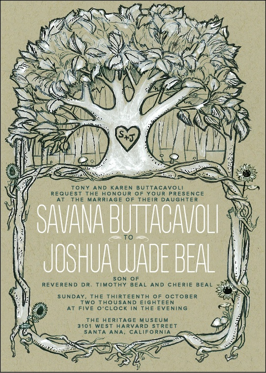 Rustic Nature Themed Wedding Invitation Illustration Design By Weddingsbychristinacarbonmade