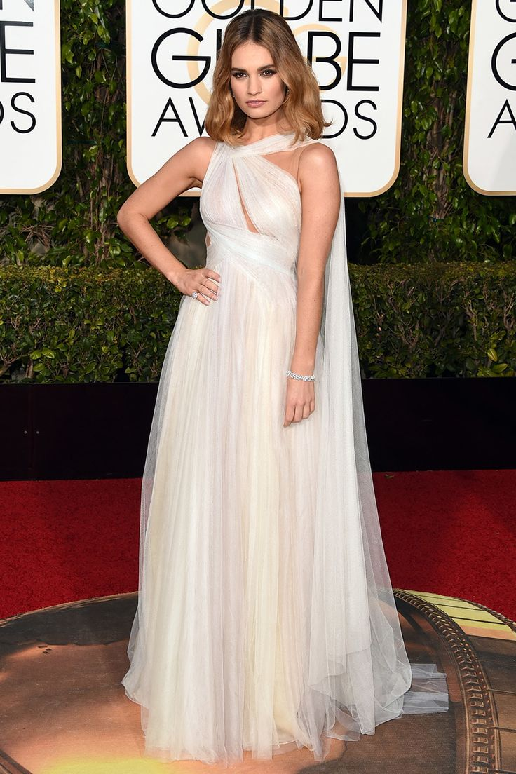 Golden Globes 2016 Red Carpet Fashion | Vanity Fair #sheerdrapes #fairygodmother #LilyJames