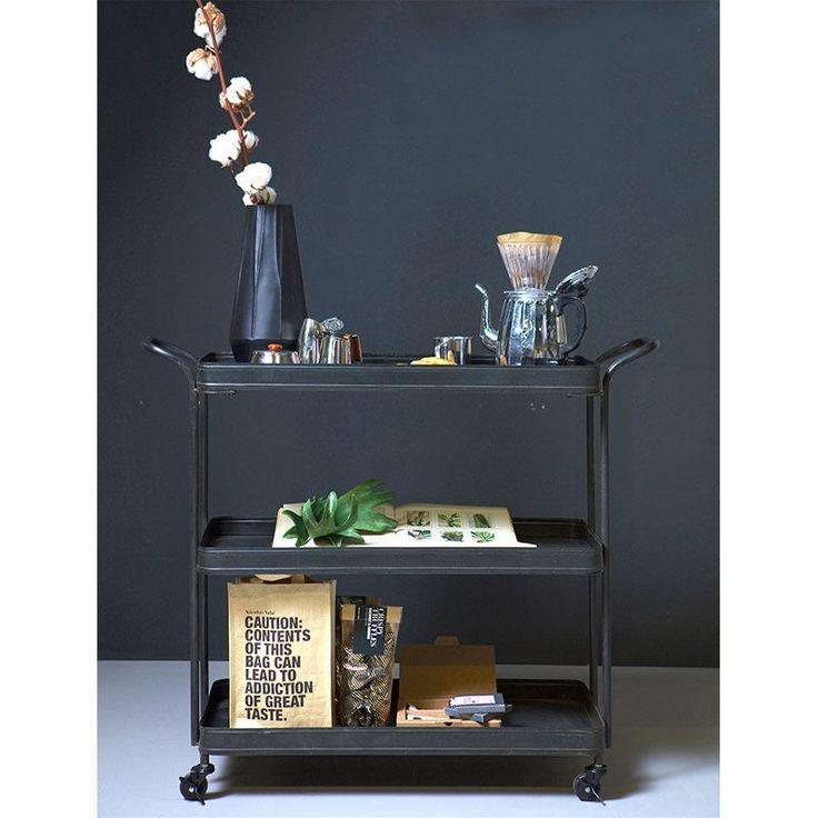Theewagen - Tea Trolley vintage metaal zwart van BePureHome sfeer