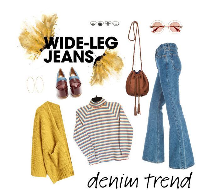 """""""70's"""" by laurapaganiposta ❤ liked on Polyvore featuring Gabriela Hearst, Magda Butrym, Gucci, Roxy, denimtrend and widelegjeans"""