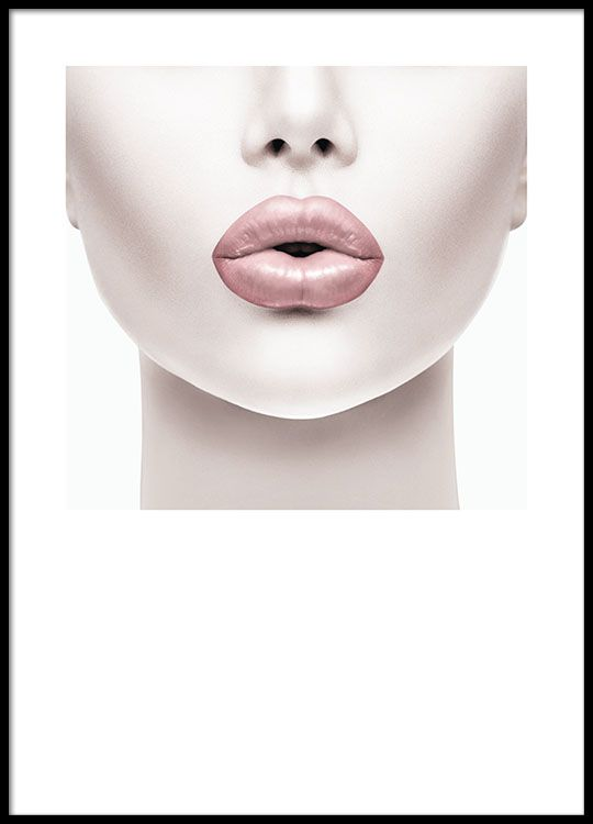 Poster with a photo of a woman with pink lips. Photo art.