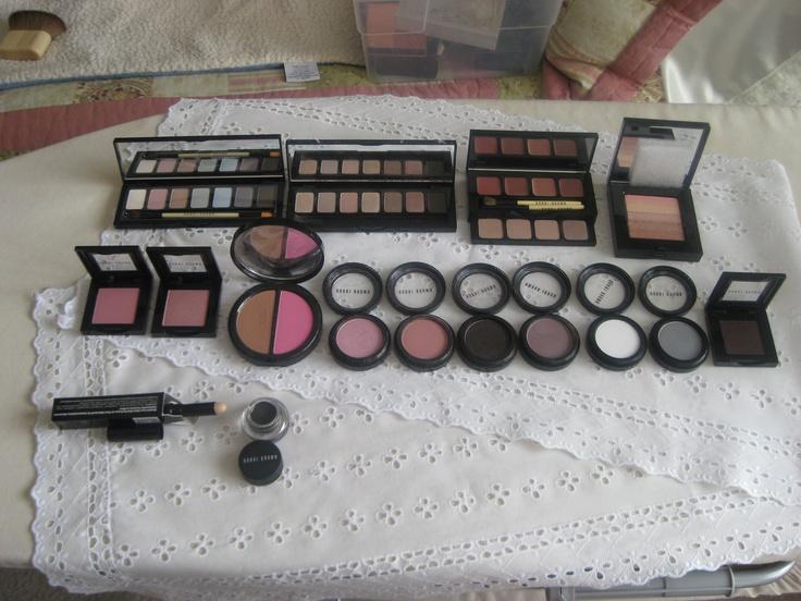 All Bobbi Brown.   Pastel palette BN exclusive to QVC   $20; Shimmering Nudes  $15; Nude Lip and Eye palette BN  $15; Rose Gold shimmer brick BN  $25;   Desert Pink blush BN  $10; Washed Rose BN  $10; Bronzer/Blush BN Medium/Peony $20; Pink Sugar shadow used $10; Slopes blush used $10; Black Plum shadow swatched $10; Heather shadow swatched $10; White shadow BN $10; Sterling shadow BN $10; Black Berry shadow BN $10; Blemish cover stick in Warm Sand BNIB $15; Gel eyeliner in Espresso Ink BN…