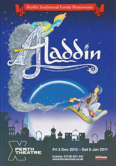 Poster of Aladdin in Perth Theatre 's Pantomime  Friday 3th December 2010 - Saturday 8th January 2011