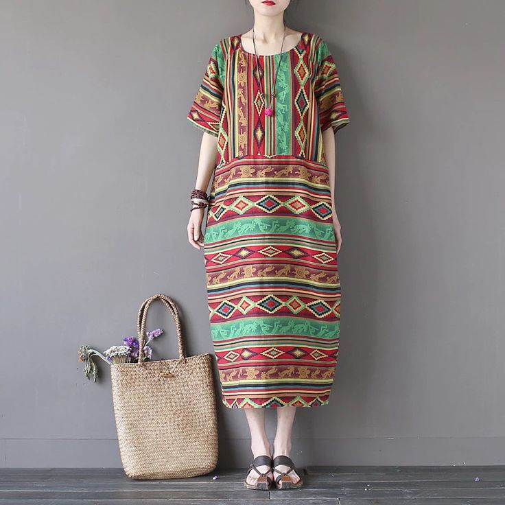 Summer stripe colors dress for women