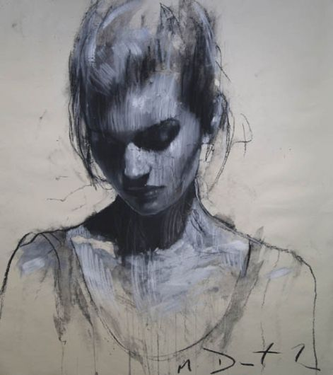 Blue girl looking down painting art pinterest girls for How to draw a girl looking down